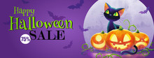 Cat And Pumpkins Against Full Moon, Halloween Sale. Vector Illustration. The Halloween Greeting Concept