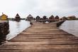 Wooden bridges on the Lake Bokod. Fishing wooden cottages, Hungary