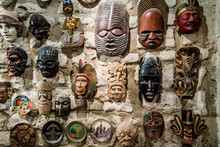 Masks Hanging On Wall. Collect...