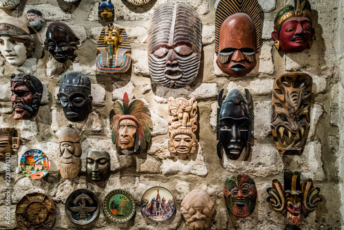 masks hanging on wall. Collection of  masks Canvas Print