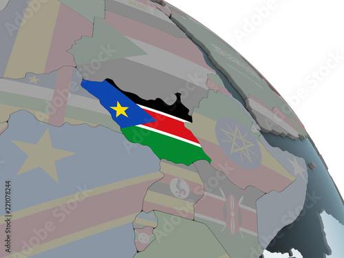 Türaufkleber Künstlich South Sudan with flag on globe