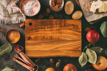 Empty Chopping Board And Ingredients For Baking.