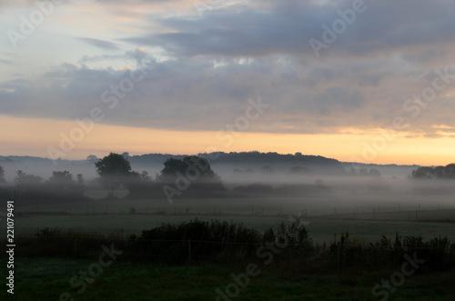Keuken foto achterwand Zwart Landscape in morning fog.