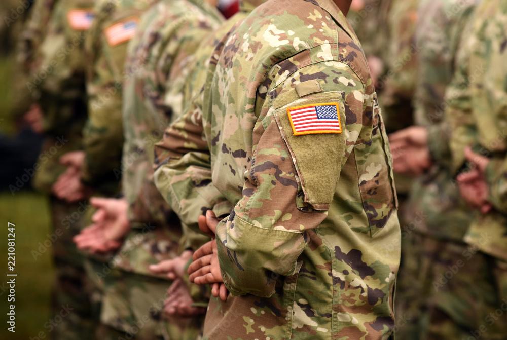 Fototapeta US army uniform patch flag. US Army