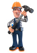 3d illustration Builder worker in overalls/3D illustration of funny engineer plumber character engaged in repair