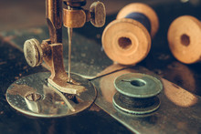 Old Retro Sewing Machine And Details Of Needle Close-up Of Thread, Bobbin