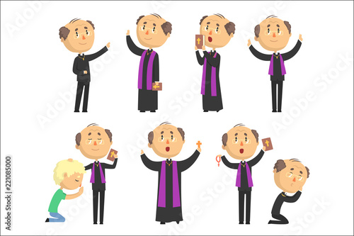 Cartoon catholic priest reading prayer, blessing parishioners, holding Cross, Bible and Gospel set of vector Illustrations