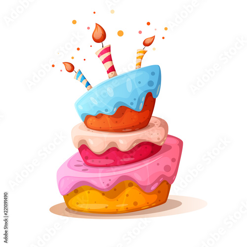 Fotografia Cartoon cake illustration with candle
