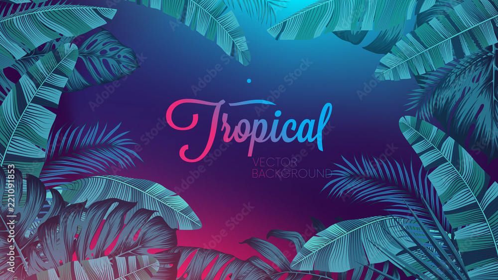 Fototapeta Red blue neon light, trendy background with tropical vector plant and leaf