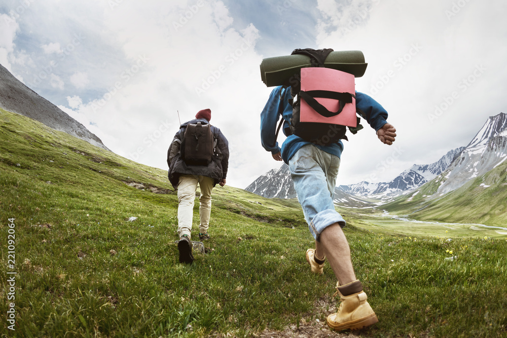 Fototapety, obrazy: Tourists at trekking route in mountains