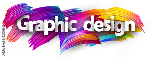 Fototapeta Graphic design paper banner with colorful brush strokes. obraz na płótnie