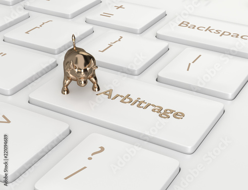 Photo 3d render of computer keyboard with ARBITRAGE button