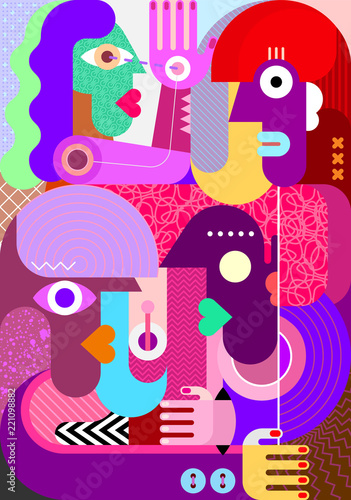 In de dag Abstractie Art Four Persons vector illustration