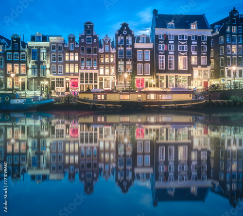 River, traditional old houses and boats, Amsterdam Wallpaper Mural