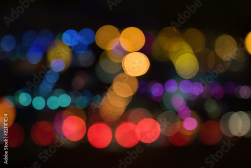Fotografiet  blur image of city at night