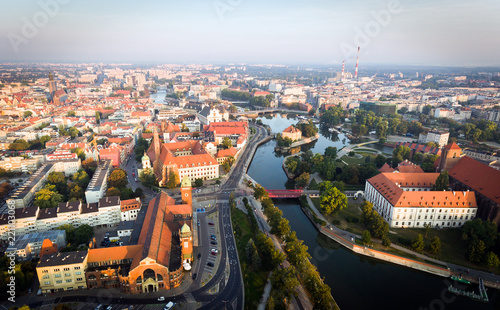 obraz dibond aerial view of famous polish city Wroclaw
