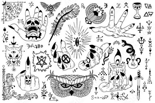 Fototapeta Tattoo design set with gothic icons and mystic symbols on white