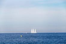 White Three Masts Boat In Nice