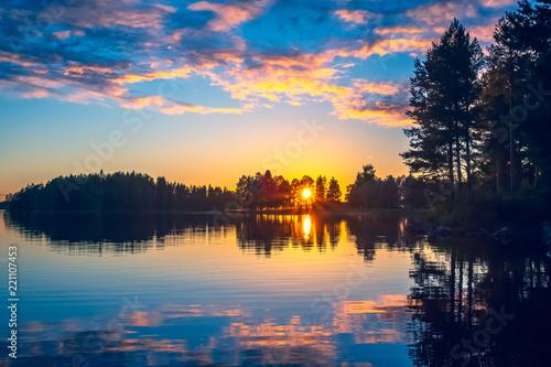 Valokuvatapetti Summer night sunset from Sotkamo, Finland.