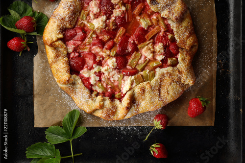 Strawberry and rhubarb galette on tray