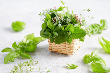 Assorted Herbs In Small Wicker...