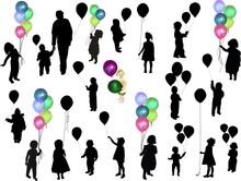Twenty Child Silhouettes With ...