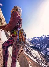 Woman Rock Climbing, Cardinal Pinnacle, Bishop, California, USA
