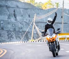 Biker On Adventure Motorcycle ...