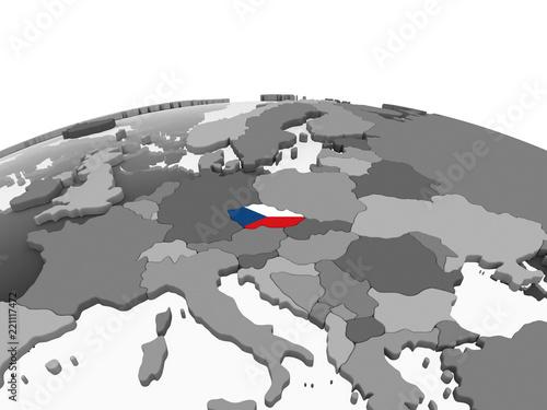 Photo  Czech republic with flag on globe