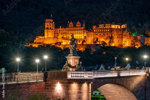 Spoed Foto op Canvas Historisch geb. Das Heidelberger Schloss bei Nacht