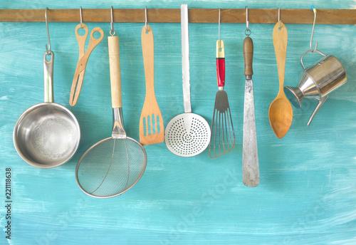 Kitchen utensils, for commercial kitchen, restaurant ,cooking, kitchen concept Wallpaper Mural