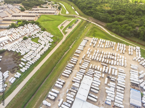 Top view used and consigned recreational vehicle at RV dealership parking lots