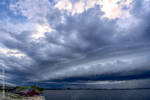 Foto op Plexiglas Hemel A shelf cloud moves over the Indian River Lagoon as a storm approaches, Melbourne, Florida