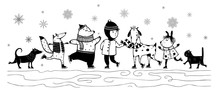 Kid And Animals In Winter Skiing Monochrome Black And White Vintage Cartoon