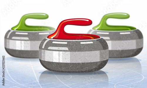 Photographie Stones for curling sport game. Ice. Rink. Vector illustration.