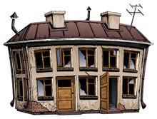 Ruined Abandoned Old House. Ba...