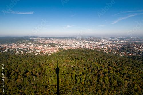 Deurstickers Centraal Europa Blick auf (den Talkessel von) Stuttgart vom Fernsehturm