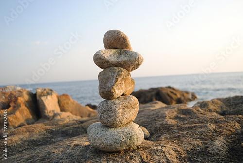 Cadres-photo bureau Zen pierres a sable ZEN - Conjunto de pedras empilhadas
