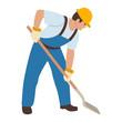 worker at helmet with a shovel vector illustration