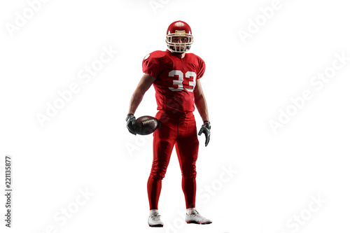Photo Active one american football player isolated on white background