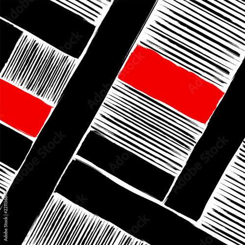 abstract geometric art in the bauhaus tradition, with strokes, splashes and stripes, black and white
