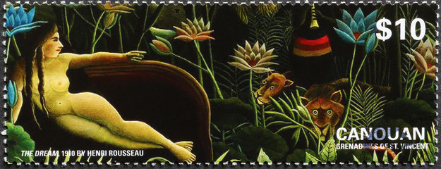 Fototapeta Do sypialni Painting the dream by Henry Rousseau on stamp