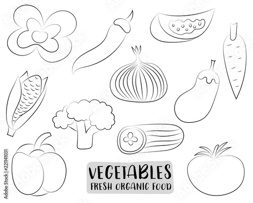 Vegetables icons set in a hand drawn cartoon style. Natural organic ...