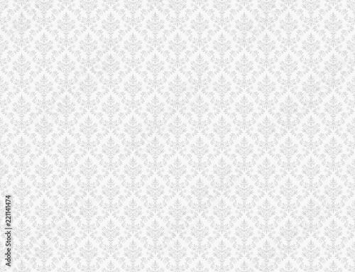 White wallpaper with damask patterns Billede på lærred