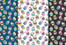 Seamless Pattern Set With Cute Cupcakes.  Colorful Girly Decor Repeat Background. Vector Illustration.
