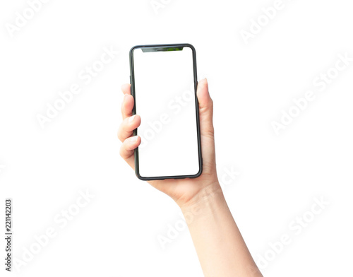 Obraz Woman hand holding the black smartphone - fototapety do salonu