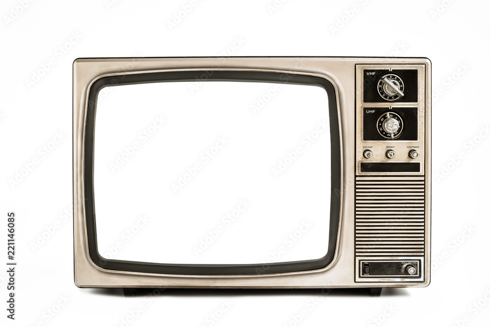 Fototapety, obrazy: Retro old television isolated on white background