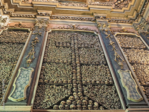 Photo Skulls details in San Bernardino ossuary, Milan, Italy.