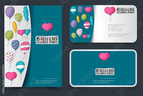Colorful Helium Balloons Flyer And Business Cards Set Background For Advertisement Invitation Brochure Template Hand Drawn Doodle Cartoon Style Birthday