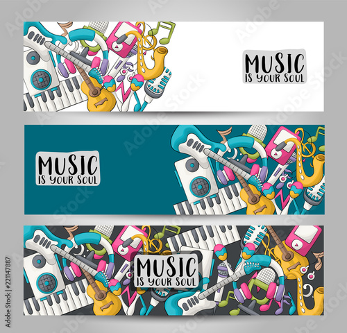 Fotografiet  Music art horizontal banner set